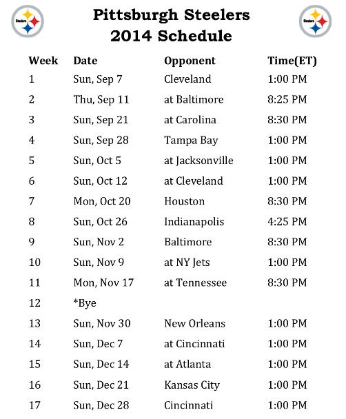 2014 Pittsburgh Steelers Schedule